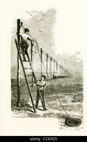 Samuel Morse a été un contributeur majeur à l'invention d'un système de télégraphe de fil en 1838-deux hommes accrocher Banque D'Images