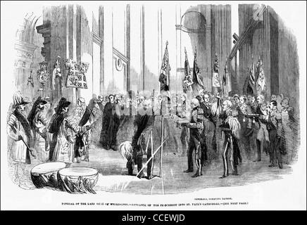 La gravure de l'époque victorienne circa 1852 Funérailles du duc de Wellington à la Cathédrale St Paul London England Banque D'Images