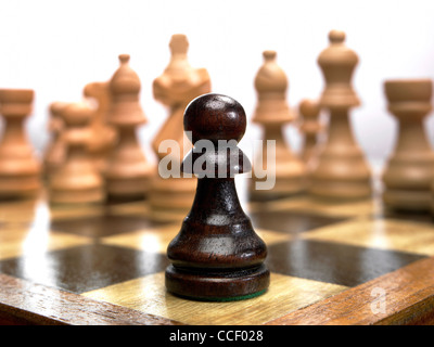 Pièce d'échecs un pion sur un échiquier