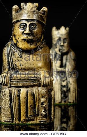 Portrait du Roi et de la Reine dans un jeu d'échecs de Lewis, Dorset, Angleterre