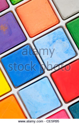 Close up image de peinture pastel blocks, Angleterre Banque D'Images