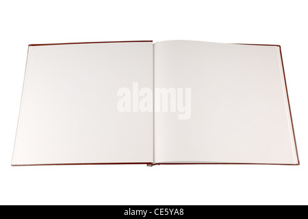 Livre ouvert avec les pages blanches vierges isolated on white Banque D'Images