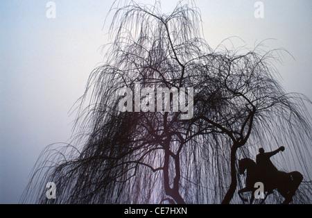 Silhouette de Tadeusz Kosciuszko Monument situé sous l'arbre sans feuilles sur jour brumeux, situé le long du côté ouest de l'entrée du château de Wawel de la vieille ville, Krakow Pologne