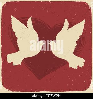 Deux amoureux des colombes. Illustration de style rétro Banque D'Images