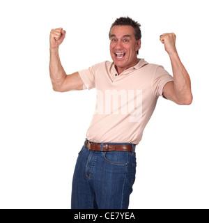 Heureux l'homme d'âge moyen attrayant excité Air frappe avec les poings Banque D'Images