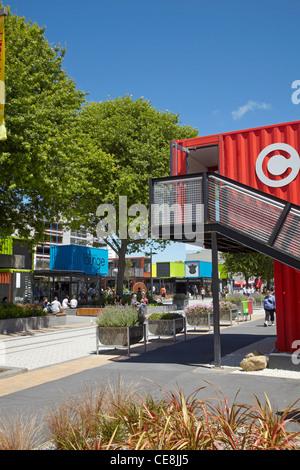 Re:démarrer le conteneur mall, Cashel Street, Christchurch, Canterbury, île du Sud, Nouvelle-Zélande Banque D'Images
