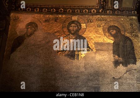 La Deesis mosaïque de Christ à l'intérieur de l'ex-Greek Orthodox Christian cathédrale patriarcale, plus tard une Banque D'Images
