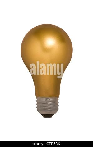 L'Ampoule d'or sur un fond blanc flottant Banque D'Images