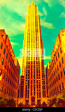 30 Rockefeller Center, GE Building, Rockefeller Plaza, Manhattan, New York City, USA, en 2012, de style vintage Banque D'Images