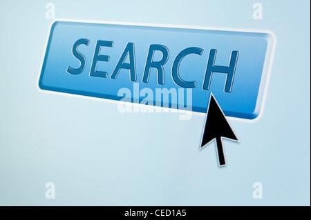 Flèche du curseur de la souris passe sur un bouton de recherche Banque D'Images