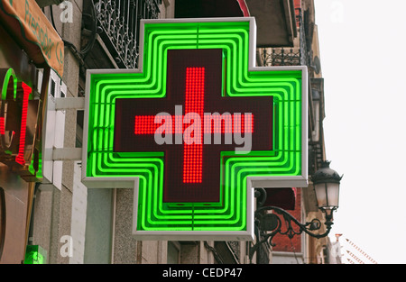 L'Espagne, la pharmacie sign Banque D'Images