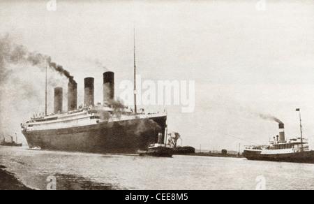RMS Titanic paquebot de la White Star Line. À partir de l'histoire mouvementée de 25 ans en images, publié en 1935. Banque D'Images