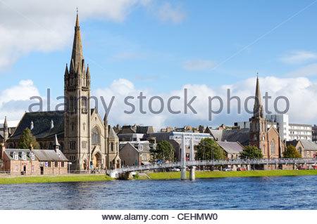 Greig Street passerelle sur la rivière Ness à Inverness en Écosse, Royaume-Uni Banque D'Images