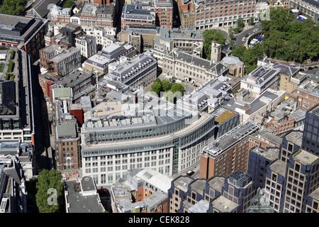 Image aérienne de St Bartholemew's Hospital, London EC4 Banque D'Images