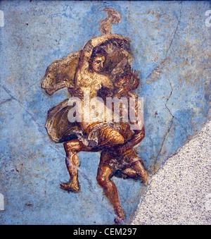Italie, Naples, Naples, Pompéi, Musée de la maison d'Diodcuri (VI 9, 6-7), couple en vol Banque D'Images