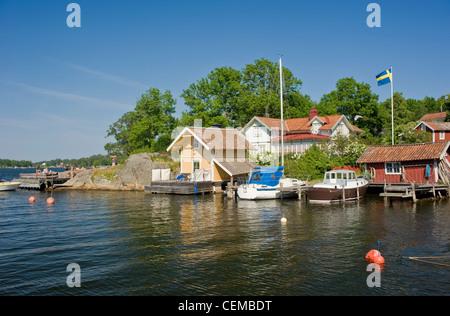 Vaxholm - une petite municipalité à l'est de Stockholm, Suède. Banque D'Images