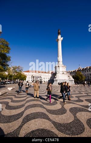 La Praça de Dom Pedro IV (place Rossio), Lisbonne, Portugal. Banque D'Images