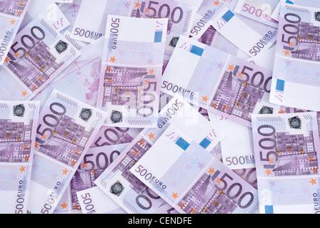 Beaucoup de 500 EURO coup horizontal Banque D'Images