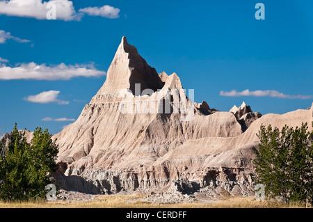 Rock formations dans le secteur du col de cèdre de Badlands National Park (Dakota du Sud). Banque D'Images
