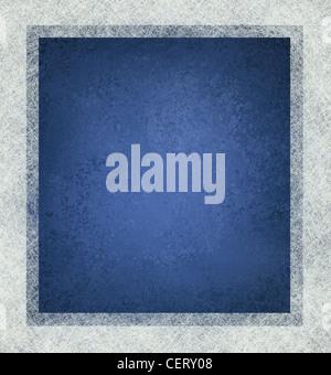 Fond bleu avec cadre blanc et beaucoup de texture, de conception de modèle bleu et blanc Banque D'Images