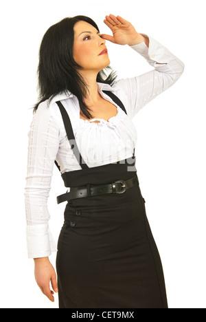 Business Woman in profile semi à loin pour quelque chose d'isolé sur fond blanc Banque D'Images