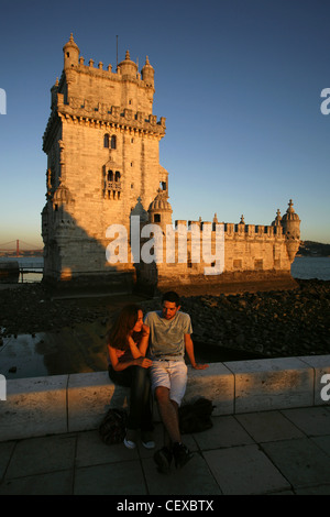 La Tour de Belém, à Torre de Belém, Lisbonne, Portugal Banque D'Images