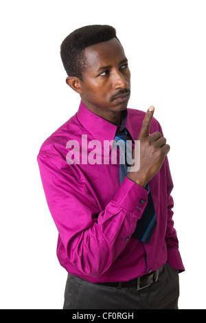 Businessman with tie black Afro-américain isolé Banque D'Images