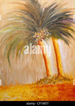 Peinture de Palmiers - par Betina Silva Banque D'Images