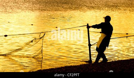 La pêche au saumon sur la rivière Tweed. Banque D'Images