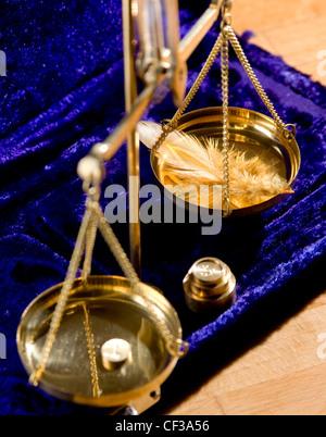 HoroscopesLibraA WD1490-12 plume sur un ensemble de balances Banque D'Images