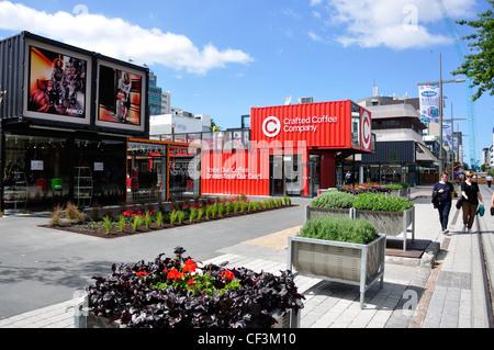 Re:start Container City construit après les tremblements de terre, Cashel Mall, CBD, Christchurch, Canterbury, Nouvelle Banque D'Images