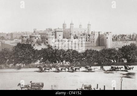 Le Palais royal et forteresse, connue sous le nom de la Tour de Londres, Londres, Angleterre, à la fin du xixe siècle. Banque D'Images