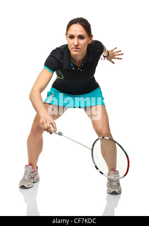 Portrait of caucasian woman jouer au badminton Banque D'Images
