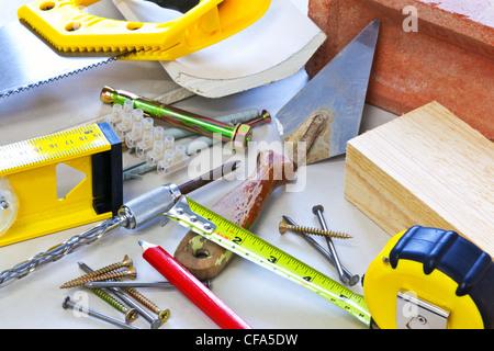 Photo de la vie toujours les outils et les matériaux de construction Banque D'Images