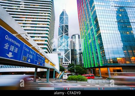 Hong Kong skyline at Dusk, Centre des affaires et du quartier financier, Banque de Chine, l'île de Hong Kong, Chine Banque D'Images