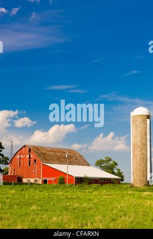 Grange et silo à grains de Scugog, Ontario, Canada. Banque D'Images