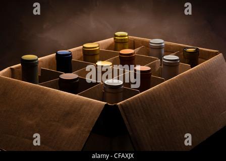 Les bouteilles de vin en rouge et blanc en boîte carton Banque D'Images