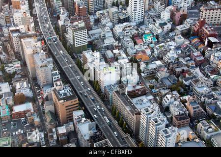 Le Japon, en Asie, Tokyo, ville, Shuto Expressway,, l'architecture, grand, bâtiments, ville, élevée, immense, Metropolis, Banque D'Images