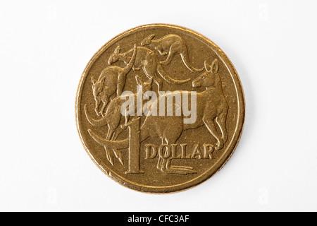 Pièce d'un dollar australien isolé Banque D'Images