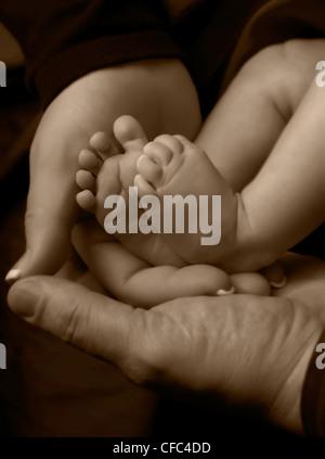Close up sépia de pieds du bébé sur les mains du parent