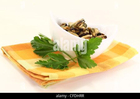 Moules marinées avec persil plat dans un bol le checked napkin Banque D'Images