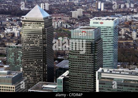 Vues aériennes de Canary Wharf, London Banque D'Images