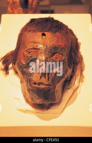Momie d'un crâne dans le Museo de la Nacion Lima Pérou Banque D'Images
