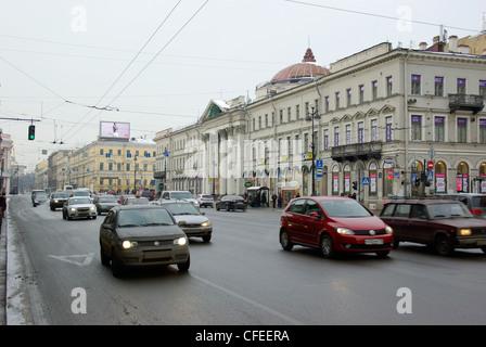 La Russie. Saint-pétersbourg. La perspective Nevski. L'église de New Holland. Banque D'Images