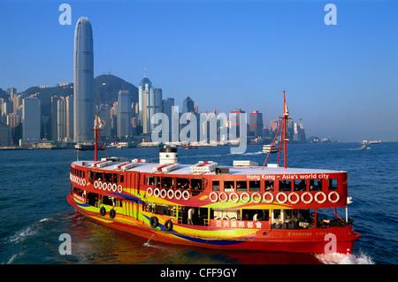 La Chine, Hong Kong, du Star Ferry et sur les toits de la ville Banque D'Images