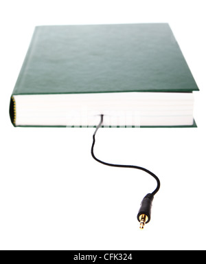 Livre livre audio jack isolated on white Banque D'Images