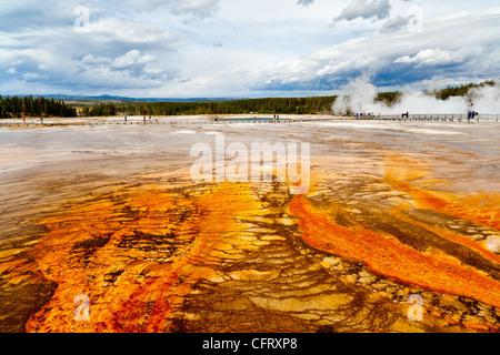 Midway geyser basin est en fait partie de la basse geyser basin dans le parc national de Yellowstone. puisqu'il Banque D'Images
