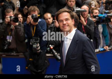 Bruxelles, Belgique. 18 octobre 2012. Bruxelles Mark Rutte, Premier Ministre des Pays-Bas en arrivant à la réunion Banque D'Images