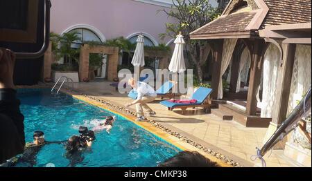 Chiang Mai, Thaïlande, 3 novembre 2013. Amerian acteur Owen Wilson de tournage sur l'ensemble des prochains film Banque D'Images