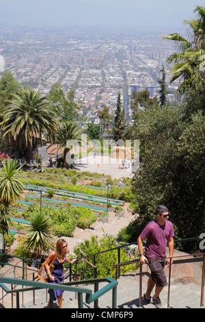 Santiago Chili Cerro San Cristobal Terraza Bellavista vue sur le centre-ville pittoresque de vues aériennes donnent Banque D'Images